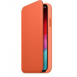iphone xs sunset folio orange läder fodral läderfodral