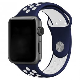 apple watch 40mm 42mm armband navy vit white mörkblå