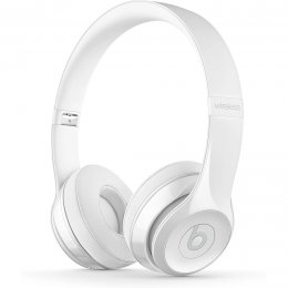 Beats Solo 3 Wireless on-ear hörlurar på örat headphones white vit gloss blank