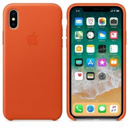 Apple iPhone X & XS Läderskal Original Ljusorange
