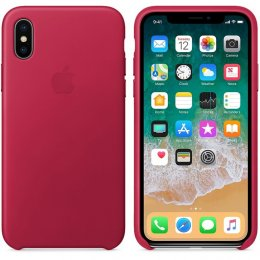 Apple Läderskal Original iPhone X Pink Fuchsia