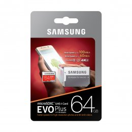 Samsung EVO Plus microSDXC 100MB/s med SD‑adapter - 64GB