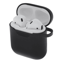 Apple Airpods silikonskal svart, airpods fodral.