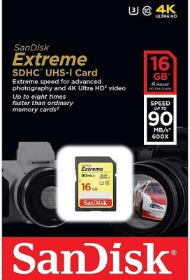 SanDisk Extreme SDHC Class 10 UHS-I Class 3 90/40MB/s 16GB 4K