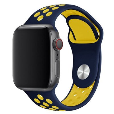 apple watch 40mm 42mm armband navy blå blue gul yellow