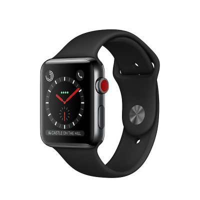 Begagnad Apple Watch Series 3 GPS + Cellular eSIM 42mm Rymdsvart Boett i Rostfritt Stål i bra skick Klass B