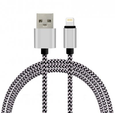 2M iPhone USB Lightning Kabel i Nylonfiber