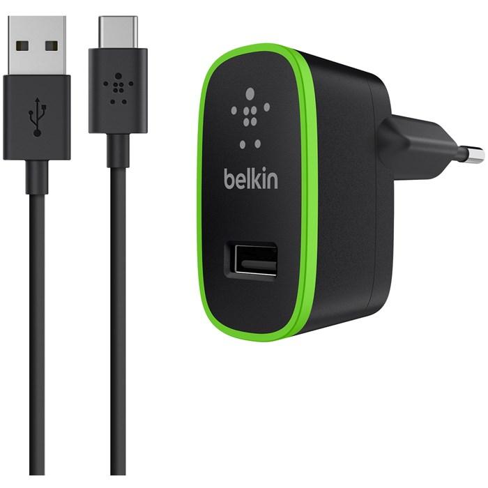 Belkin Väggladdare 2.1A med USB C till USB A kabel 1,8M Svart