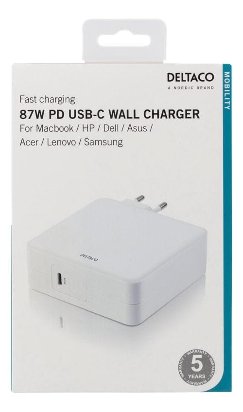 Deltaco USB C laddare 87W för bärbara datorer