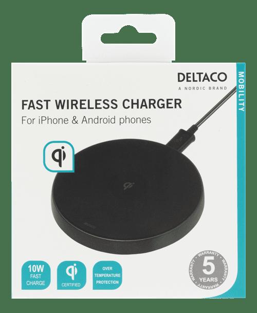 Deltaco Trådlös Snabbladdare för iPhone Android, 10W Svart